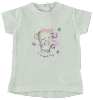 Maxi t-shirt 100% cotone con topolino ido BIANCO-0113