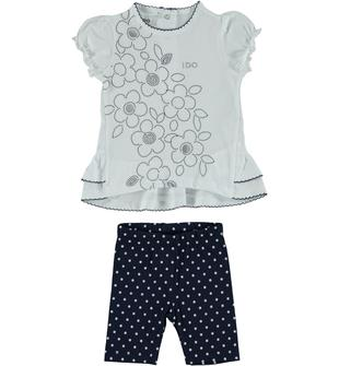 Completo 100% cotone con maxi t-shirt con fiori ido BIANCO-BLU-8020