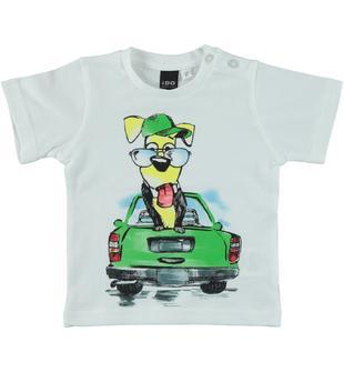T-shirt a manica corta con cagnolino ido BIANCO-0113