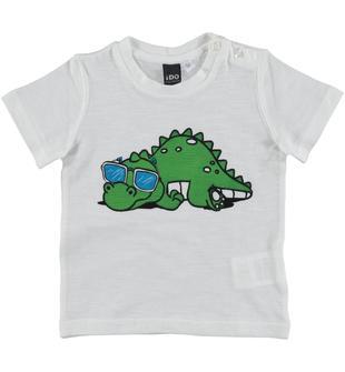 T-shirt 100% cotone con stampa termosensibile ido BIANCO-0113