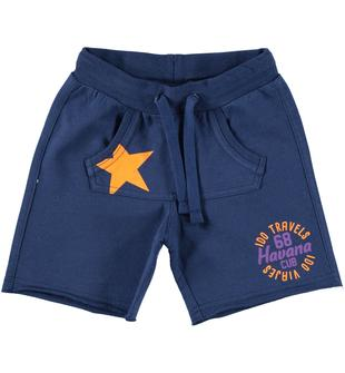 Pantalone corto con fondo gamba taglio vivo ido BLU INDIGO-3647