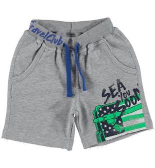 Pantalone corto con coulisse in contrasto di colore ido GRIGIO MELANGE-8992