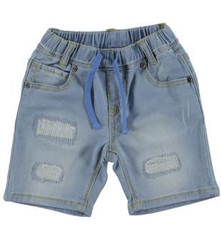 Pantalone corto denim con coulisse in tono ido BLU CHIARO LAVATO-7310