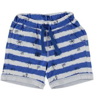 Pantalone corto con stampa tema vacanze ido BIANCO-ROYAL-6U06