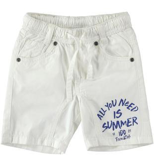 Pantalone corto in popeline 100% cotone ido BIANCO-0113