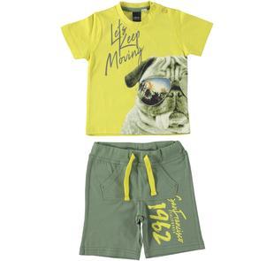 Completino due pezzi con t-shirt con cane ido GIALLO-VERDE-8076