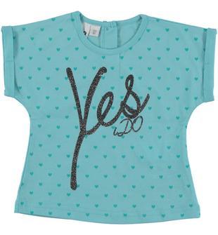 T-shirt 100% cotone vestibilità corta ido VERDE ACQUA-4411