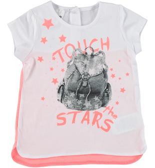 T-shirt in cotone con zainetto e stelline ido BIANCO-0113
