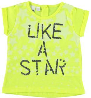 T-shirt dai toni fluo con stelle e scritta glitter ido GIALLO FLUO-1499