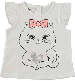 T-shirt 100% cotone con manica ad aletta arricciata ido BIANCO-0113