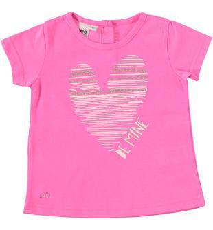 T-shirt misto cotone con cuore dai dettagli glitter ido ROSA FLUO-2499