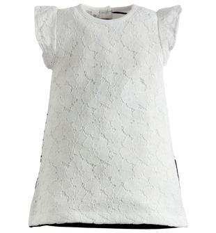 Raffinato vestitino a trapezio con manichine ad aletta ido BIANCO-BLU-8216