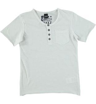 T-shirt modello serafino con rifiniture con tagli a vivo ido BIANCO-0113