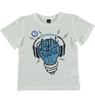 T-shirt con stampa lampadina termosensibile ido BIANCO-0113