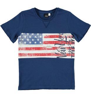 Maglietta 100% cotone con stampa ispirazione USA ido BLU INDIGO-3647