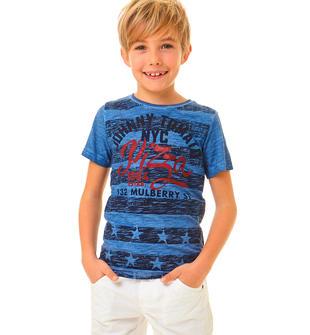 T-shirt  100% cotone effetto stampa stelle e strisce ido AVION-3727