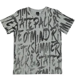 T-shirt 100% cotone con stampa scritte tema vacanze ido GRIGIO-NERO-6T87