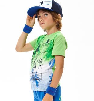 T-shirt a manica corta misto cotone ido VERDE FLUO-5820