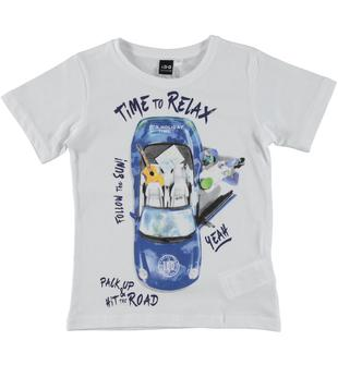 T-shirt 100% cotone a manica corta con collo in costina ido BIANCO-0113