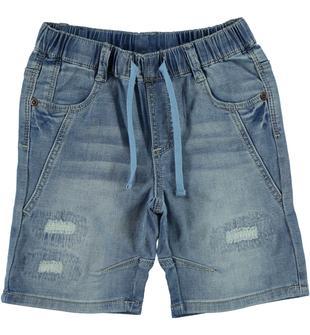 Pantalone corto effetto denim con coulisse ido BLU LAVATO-7152