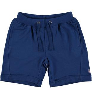 Pantalone corto 100% cotone con stampa skateboard ido BLU INDIGO-3647