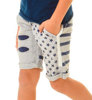 Stampe a stelle e strisce per questo pantalone 100% cotone ido GRIGIO MELANGE-8992