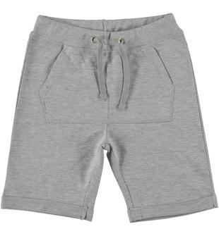 Pantalone corto in maglia tagliata 100% cotone ido GRIGIO MELANGE-8992