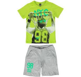 Completo 100% cotone con t-shirt stampa basket ido VERDE-GRIGIO-8027