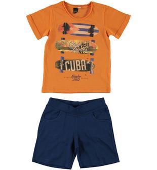 Completo bicolore in cotone con t-shirt mezza manica ido ARANCIO-BLU-8066