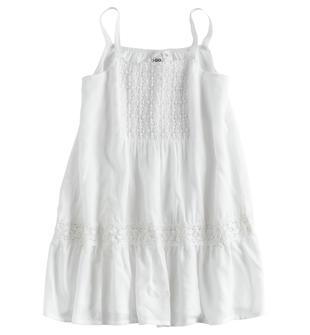 Mini abito con spallini sottili in morbida viscosa ido BIANCO-0113