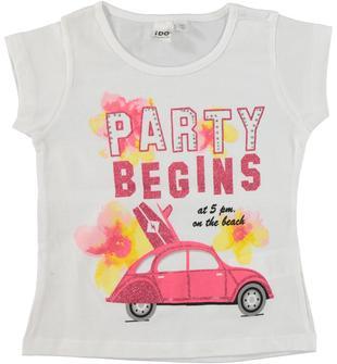 T-shirt in cotone con stampa glitter illuminata da strass ido BIANCO-0113