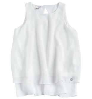 Maxi camicia smanicata modello a trapezio con balza ido BIANCO-0113