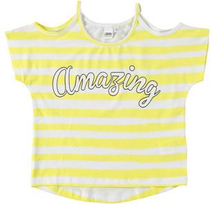 T-shirt in cotone elasticizzato con manica calata ido BIANCO-GIALLO-6U21