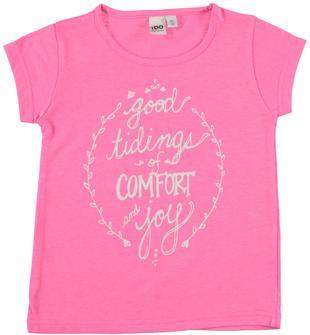 T-shirt in misto cotone con scritta glitter ido ROSA FLUO-2499