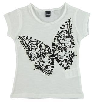 T-shirt 100% cotone con farfalla fotosensibile ido BIANCO-0113