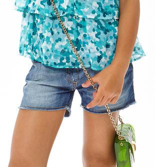 Short jeans in cotone con sabbiature ido STONE WASHED CHIARO-7400