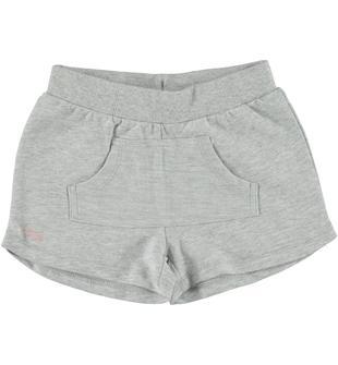 Shorts 100% cotone con tasca a marsupio ido GRIGIO MELANGE-8991
