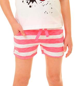 Shorts 100% cotone fiammato e stampato ido BIANCO-CORALLO FLUO-6Q26