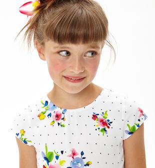 Vestitino stampato a pois e fiori con cintura in ecopelle ido BIANCO-FIORI-6U07