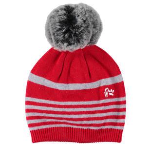 Cappellino in tricot misto cotone e lana ido ROSSO-GRIGIO-8015