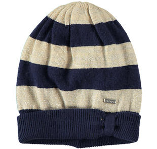 Cappellino rigato in tricot ido BLU-BEIGE-8030