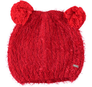 Cappellino con doppio pon pon ido ROSSO-2253
