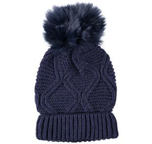 Cappello con pon pon in ecopelliccia ido NAVY-3854