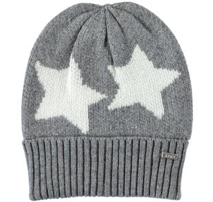 Cappello in tricot con stelle a contrasto ido GRIGIO-PANNA-8139