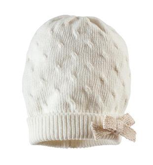 Cappello in tricot misto cotone con fiocco lurex ido PANNA-0112