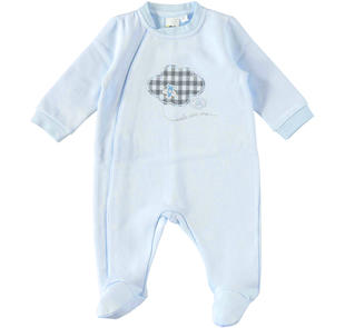 Tutina neonato con piedino in felpa garzata ido SKY-5818