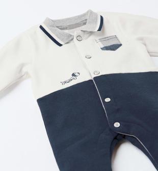 Tutina neonato in felpa garzata internamente ido PANNA-BLU-8132