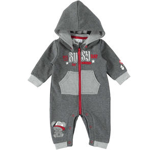Tutina neonato intera in felpa garzata ido GRIGIO MELANGE SCURO-8994