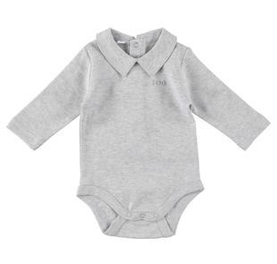Body a manica lunga in caldo tessuto 100% cotone ido GRIGIO MELANGE-8991