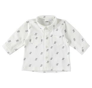 Camicia in cotone con particolare stampa con bassotti ido PANNA-BLU-6Z66